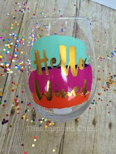 Hello Wine 20oz Stemless Wine Glass Gold by ThatInspiredChick