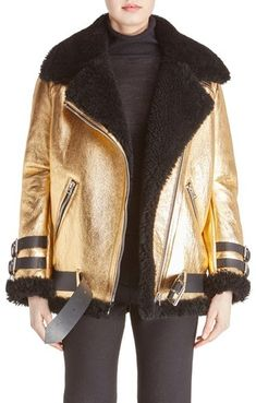 ACNE Studios 'Velocite' Metallic Genuine Shearling Jacket