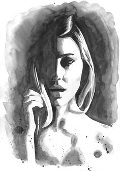 Original Watercolor Fashion Illustration Black and White Painting tittled In The Middle Of Nowhere