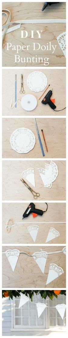 How to Make Paper Doily Bunting - Rustic Wedding Chic sew it on instead of glue  and  put burlap one in between each one   8
