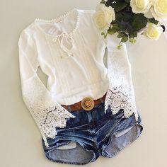 New 2016 Spring Women Lace shirt Fashion Long sleeve Chiffon Patchwork blouse shirt Plus size women tops S-XL chiffon shirt 58 Style Casual, Casual Outfits, Casual Shirts, Chemise Fashion, Plus Size Women's Tops, Shirt Bluse, Chiffon Shirt, Chiffon Blouses, Blouses For Women