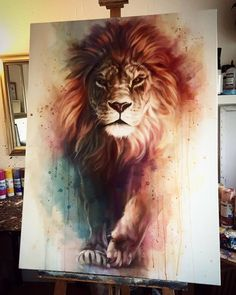 Gorgeous Lion painting with awesome depth and color. Lion of Judah painting.