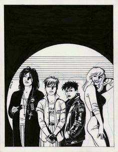 Love and Rockets - The cover to Music for Mechanics by Jaime Hernandez.