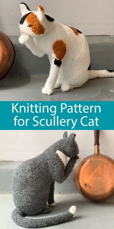 Knitting Pattern for The Scullery Cat Adorable cat softie toy is 12 inches in height and is 5 inches across the chest. It is worked mostly in the round, mostly in one piece, and can be personalized any number of ways. Bulky weight yarn. Designed by Sara Elizabeth Kellner