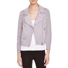 Rebecca Minkoff Wes Suede Moto Jacket ($635) ❤ liked on Polyvore featuring outerwear, jackets, grey plum, rebecca minkoff, grey moto jacket, suede biker jacket, motorcycle jacket e rider jacket