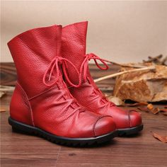 2016 Vintage Style Genuine Leather Women Boots Flat Booties Soft Cowhide Women's Shoes Front Zip Ankle Boots zapatos mujer  #handbags #fashion #kids #YLEY #bag #bagshop #L09582 #shoulderbags #highschool #backpack #Happy4Sales  #shoes