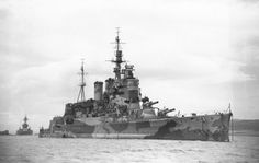 HMS Renown - at Hvalfjord, Iceland, very early in 1942. The USS Texas lies astern.