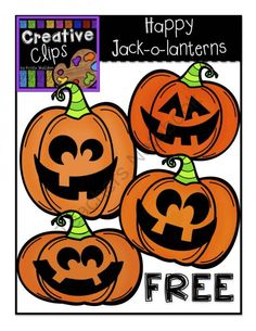 Happy Jack-O-Lanterns Creative Clips Digital Clipart from Creative Clips Clipart on TeachersNotebook.com (4 pages)