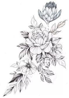 Floral Thigh Tattoos, Leg Tattoos, Arm Tattoo, Body Art Tattoos, Sleeve Tattoos, Tattoos Skull, Tatoos, Flower Tattoo Drawings, Small Flower Tattoos