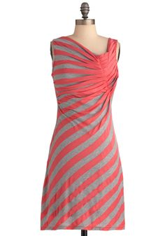$19.99 Spread the Style Dress in Coral - Mid-length, Grey, Stripes, Casual, Sleeveless, Sheath / Shift, Pink, Coral