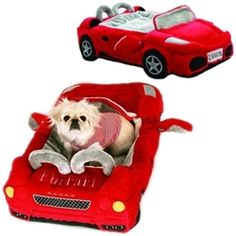 "$249.95 w/FREE SHIPPING - Furrari Car Bed.  This item features a zip off cover for easy cleaning and measures 32""L x 18""W.  Available at Sugar Chic Couture"