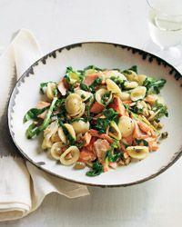 Orecchiette with Salmon, Arugula and Artichokes Recipe on Food & Wine