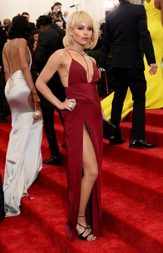 Va-va-va-voom — Zoe Kravitz vamped it up in an alluring, slinky dress. #MetGala