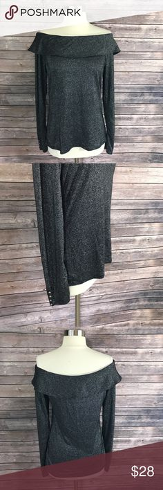 White House Black Market Womens Top Medium Black White House Black Market Womens Top Sz Medium Black Silver Shimmer Off Shoulder. Measurements: (in inches) Underarm to underarm: 18 Length: 24  Good, gently used condition White House Black Market Tops Blouses