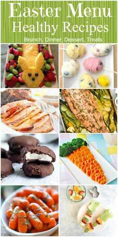 Healthy recipes to set your Easter Menu. Brunch recipes. Dinner recipes including the main dish, side dish and vegetables plus desserts.