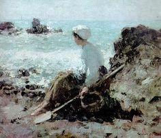 Fishermen in Grandville, 1884 Nicolae Grigorescu Russian Painting, Camille Pissarro, Art Database, Beach Scenes, Manet, Beach Art, Renoir, Whistler, Fresco