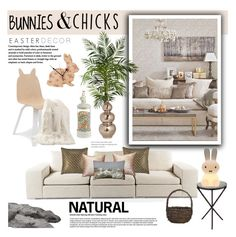 """""""Bunnies & Chicks"""" by hafsahshead ❤ liked on Polyvore featuring interior, interiors, interior design, home, home decor, interior decorating, Control Brand, Best Home Fashion, Nearly Natural and Emissary"""