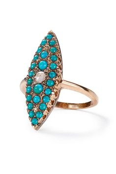 Turquoise and Diamond Grande Navette Ring in 14k Rose Gold by Arik Kastan