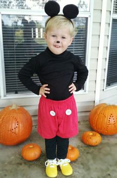 DIY- toddler Mickey Mouse costume.  sc 1 st  Pinterest & Happy Halloween DIY Make your own Mickey Mouse Costume. Mickey Mouse ...