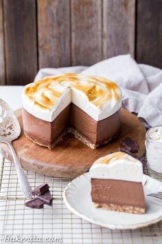 """This No Bake S'mores Cheesecake has a chocolate """"cheesecake"""" made with soaked cashews and toasted marshmallow on top! It's gluten-free, dairy-free & Paleo."""