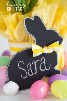 Easter bunny free printable gift tag that is attached to the flower pot to resemble a bow tie | In My Own Style