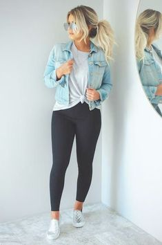 26 Ladies Outfit Trends That Will Make You Look Stylish Outfit Outfit Spring summer fashion outfits! Casual fashion cute and chic teenage outfits how to wear casual outfits ideas 2019 winter outfits Outfit Jeans, Legging Outfits, Cute Jean Jacket Outfits, Black Jeans Outfit Fall, Black Outfits, Dress Jean Jacket, Speing Outfits, Denim Jacket Outfit Winter, Young Mom Outfits