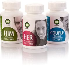 Personal Bundle of 4 Fruitful Get pregnant Fertility Prenatal Multivitamins TTC Package Provides Three Dedicated Formulas for Him for Her and for Couple Includes App Blog  Fertility Supplement ** Click image for more details.