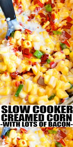 SLOW COOKER CREAMED CORN WITH BACON RECIPE- The best easy crockpot creamed corn, homemade with simple ingredients. A rich, creamy, cheesy side dish. Topped off with lots of bacon. Great for Thanksgiving. From SlowCookerFoodie.com #corn #sidedish #slowcooker #crockpot #bacon Slow Cooker Creamed Corn, Creamed Corn Recipes, Bacon Recipes, Milk Recipes, Vegan Recipes, Best Slow Cooker, Slow Cooker Recipes, Crockpot Recipes, Cooking Recipes