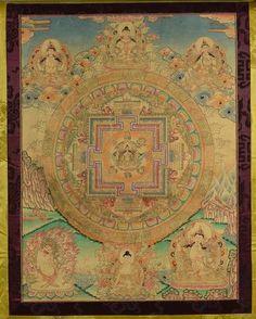 Tanka Mandala, Tara verte illustré sur trois registres de Boddhisatvas et Dharmapalas autour du mandala centrale composé d'un cercle lotiforme et d'un carré aux quatre points cardinaux. Pigments polychromes sur textile entouré d'un brocart. Tibet. 18 ème siècle. Ht 64cm x 47cm. Avec brocard 117x70cm.
