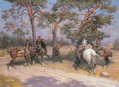 Bagieński Stanisław . Zwiad kawalerii, po 1920 olej, płótno, 73 x 99.5