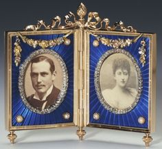 Double frame with photographs of Prince Charles of Denmark and Princess Maud of Wales