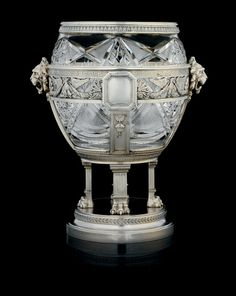*A Silver-Mounted Cut Glass Bowl MARKED K. FABERGÉ WITH THE IMPERIAL WARRANT, MOSCOW, 1908-1917