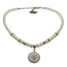 Alpenflüstern Perlen-Trachtenkette Münze klein (cremeweiß)