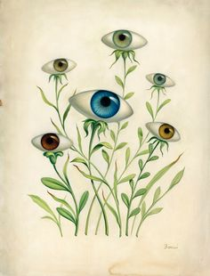 "HEALTHY EYES, HEALTHY VISION ...   ART: by Chris Buzelli - ""Vision Garden"" *****  Important to remember-- think of FOOD for maintaining healthy eyes!  I must look into (aside from Carrots) what foods are good for different parts of the body."