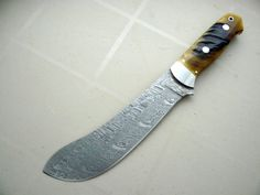 Custom made hunting knives for sale #9 - Mike Norris Damascus Rams horn Buffalo Skinner knife for sale