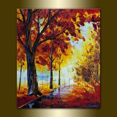Original Seasons Tree Landscape Painting Oil on Canvas Textured Palette Knife Contemporary Modern Art  20X24 by Willson Lau