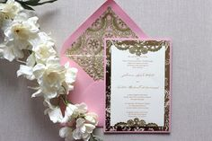 Wedding Invitations Vintage Gold and Pink by AlexandriaLindo