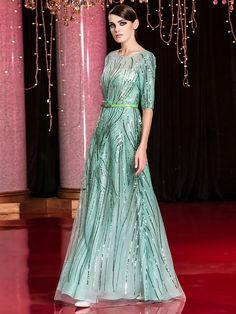 Green Half Sleeve Scoop Sequin Tulle Sparkle Sheath Column Prom Formal Dress  ItemFA20005S fe51335833ef