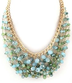 Glass Beads & Lucite Multi Strand Necklace