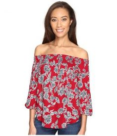 Splendid Cold Shoulder Top (Beet Red) Women's Clothing