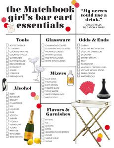 A Handy Checklist to pair with our vintage bar cart and glassware!