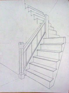 Two examples of perspective drawings from Tuesday .- Two examples of perspective drawings of Tuesday / Thursday. Two examples of perspective drawings from Tuesday / Thursday. Interior Architecture Drawing, Interior Design Sketches, Architecture Career, Drawing Interior, Drawing Techniques, Drawing Tips, Drawing Drawing, Drawing Of House, Stair Drawing