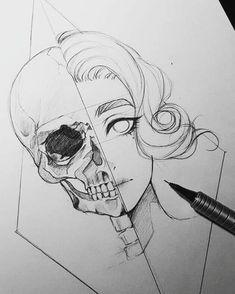Tattoo Girl Face Sketch Bleistiftzeichnungen 70 Trendy Ideas - Famous Last Words Girl Face Tattoo, Girl Face Drawing, Face Art, Girl Tattoos, Skull Tattoos, Drawing Faces, Skull Sketch, Face Sketch, Girl Sketch