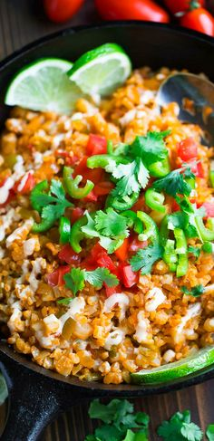 Mexican Cauliflower Rice is zesty and flavorful and makes a great side dish for taco night and the most tasty base for burrito bowls too! We love this heathy riced cauliflower dish because it's vegetarian, gluten-free, low-carb, and jus so so delicious too!