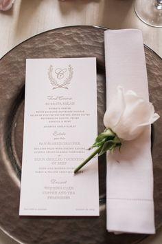 photo: Kelly Kollar Photography; chic wedding reception menu card
