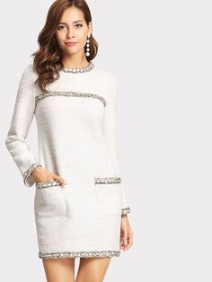 SheIn offers Whipstitch Trim Tweed Dress & more to fit your fashionable needs. Formal Dresses With Sleeves, Casual Dresses, Sleeve Dresses, Dress Formal, Tweed Dress, Knit Dress, Trendy Outfits, Fashion Outfits, Womens Fashion