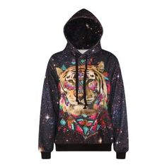 Harajuku Print Galaxy Stars Tiger Sweatshirts Fashion Long sleeve with hat  Women men Hoodies Cartoon Hoody Hooded Pullover df50bd1cf74
