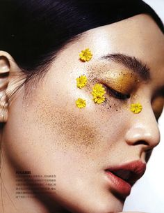 """""""Sunkiss Glitter"""" Li Wei photographed by Ma Gang tylist: Cui Menghan Hair: Wen Lie Makeup: Wang Qian Makeup Inspo, Makeup Art, Makeup Inspiration, Eye Makeup, Hair Makeup, Makeup Style, Art Visage, Flower Makeup, Photo Portrait"""