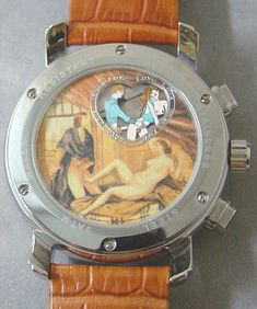 """Back of a Muller & Co. Automatic Open-heart """"Erotic"""" watch.  Now, I may be alone here, but if I spent the time and effort to design and manufacture what is no doubt quite a nice mechanical watch, I would also invest in someone other than my mailman's 17 year old, mentally-challenged nephew to create the """"erotic"""" illustration on the back.  I've seen better work on public restroom stall walls."""