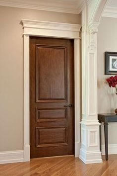 wood doors with white trim